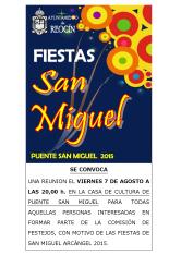 CARTEL REUNION FIESTAS DE SAN MIGUEL 2015