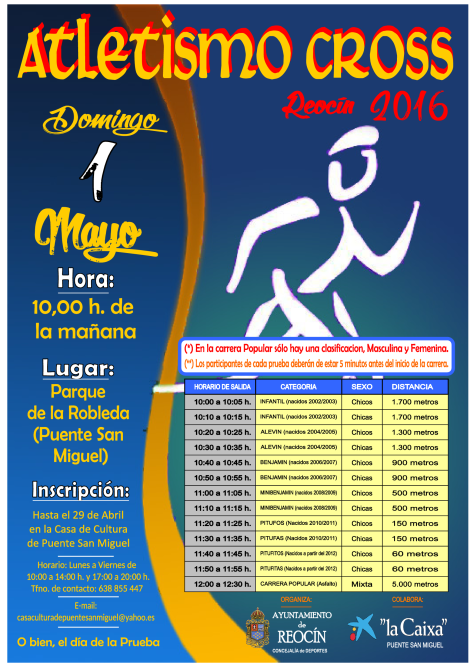 atletismo cross reocin 2016 1 de MAYO