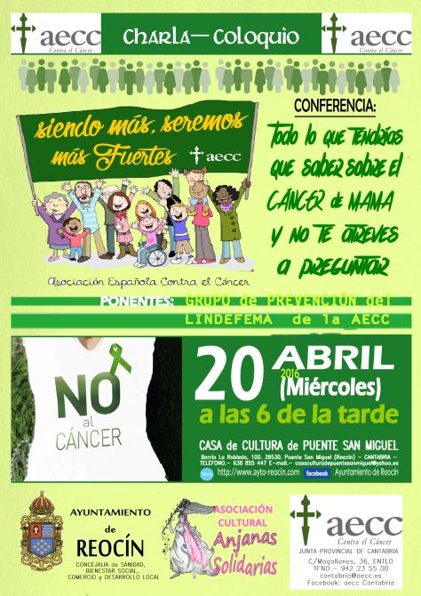 cartel charla sobre el canacer mama 18abril2016