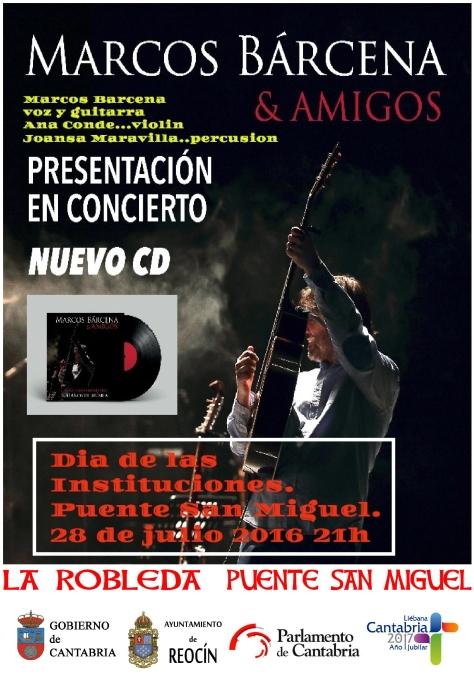 cartel concierto de marcos barcena 28 de julio