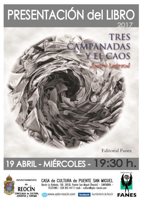 cartel presentación del libro trescampanadasyelcaos