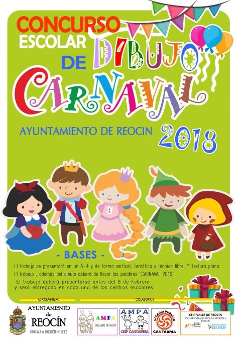 cartel concurso escolar de dibujo de carnaval 2018