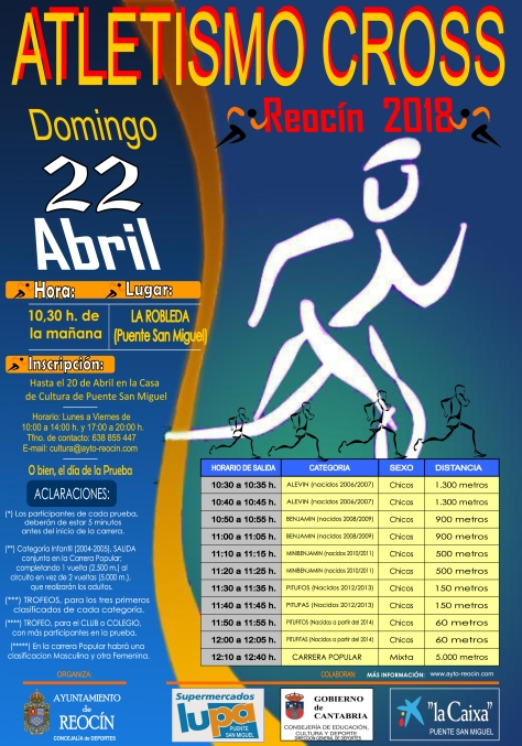 cartel atletismo cross reocin 22 de ABRIL 2018
