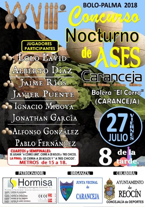 CARTEL FINAL CONCURSO NOCTURNO DE BOLOS CARANCEJA 2018