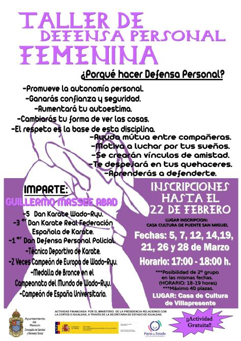 CARTEL TALLER DEFENSA PRSONAL FEMENINA