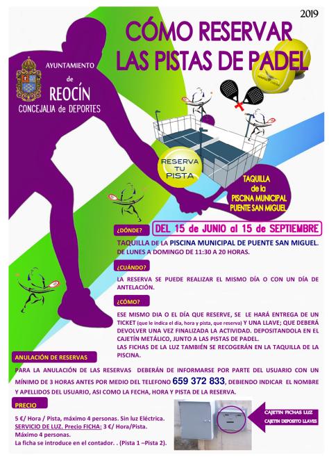 CARTEL RESERVA PISTAS DE PADEL DEL15JUNIO-15SEPT 19