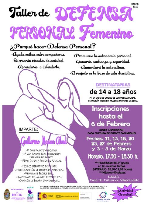 cartel de taller de defensa personal FEMENINO 2020