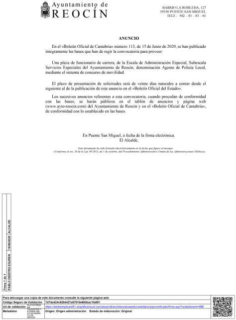 ANUNCIO BOE - POLICIA LOCAL