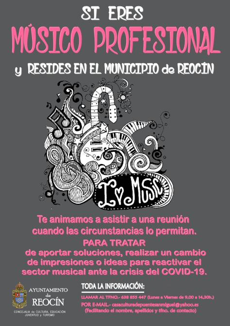cartel REUNION MUSICOS PROFESIONALES EN EL MUNICIPIO